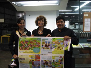 Pam on press check with Lucy and Pedro from Quad Graphics Peru